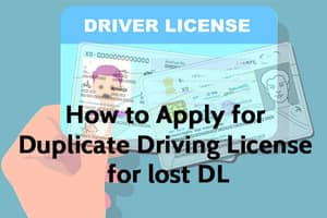 Online Apply for Duplicate Driving License DL Sarathi Parivahan Portal